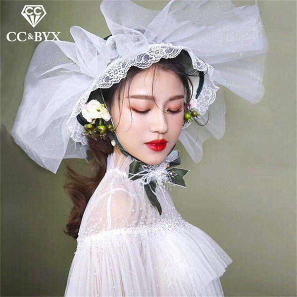 CC wedding jewelry big hair hats crown forest style lace flower shape engagement accessories bridal party beach handmade XY346