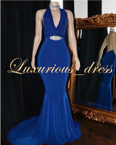Fashion Royal Blue Prom Dresses Long 2019 Elegant Halter Sequin Top Satin Mermaid African Black Girl Prom Gowns Graduation Dresses