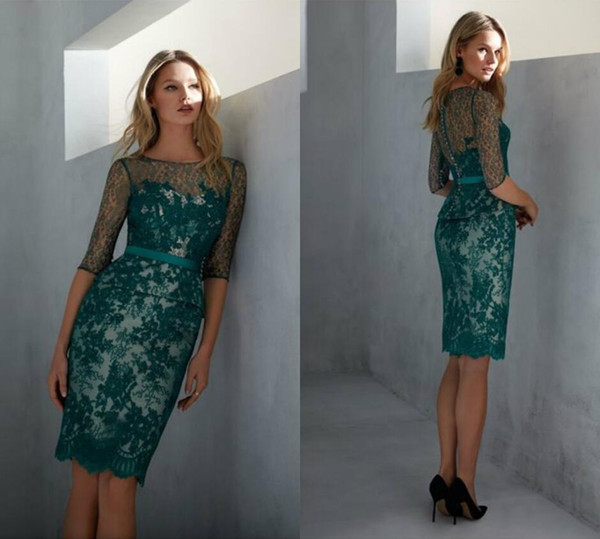 Chic 2019 Lace Mother Of The Bride Dresses With Half Sleeves Appliqued Knee Length Wedding Guest Dress Custom Made Green Evening Gowns