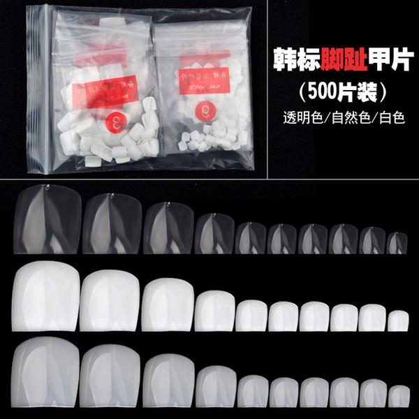 New 500pcs Natural Transparent White False Toe Tips Round Nail Art Tips Full Cover Acrylic Tip UV Gel Deco