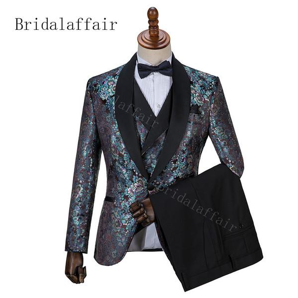 Bridalaffair 2019 Green Mens Suits Slim Fit Three Pieces Beach Groomsmen Wedding Tuxedos For Men Lapel Formal Prom Suit