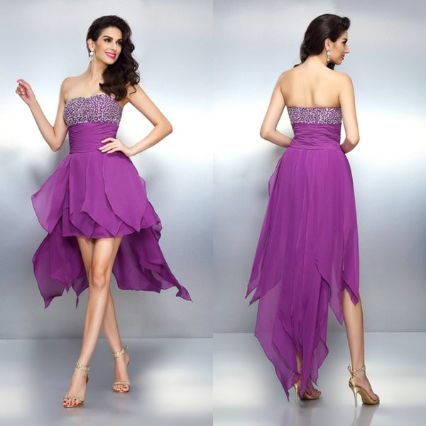 Purple Strapless Short Prom Dresses Beaded Corset Top Hi Low Chiffon Cheap Evening Party Gowns Flowy Chic Chic Homecoming polyvore For Teen