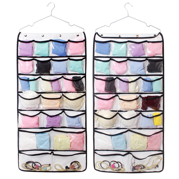 42 Pocket Double Side Hanging Bag Clear Pocket Organizer for bra sock underwear with transparent closet storage pouch 88.5*44cm