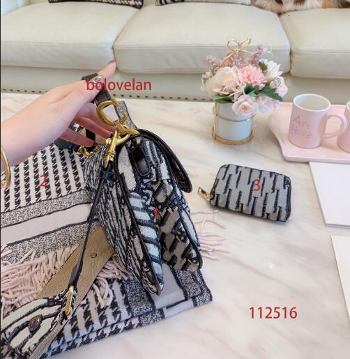 2019 new letter saddle bag three-piece suit Saddle bag + fring ed scarf + small wallet luxury handbags women bags designer