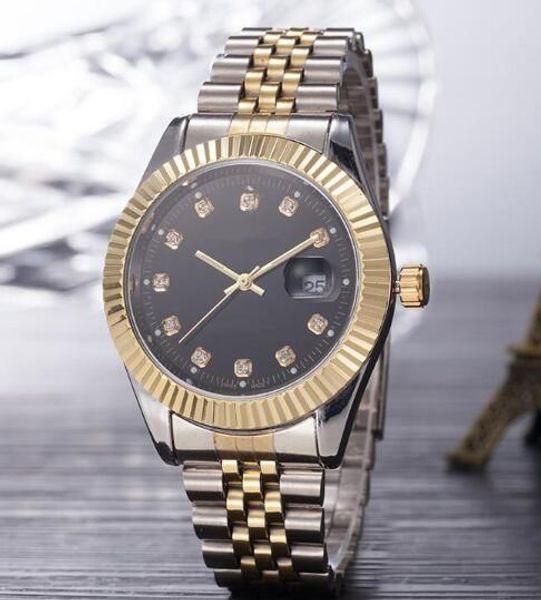 Top Selling Luxury New Brand Men Watch Gold Silver Stainless Steel Black Dial Wristwatch Male Quartz Watches Double Calendar Wrist watch