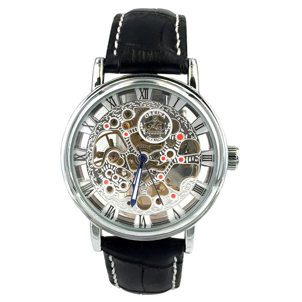 Chronomart Orkina Men's Silver Case Skeleton Mechanical Dial Black Leather Strap Wrist Watch ORK-0001