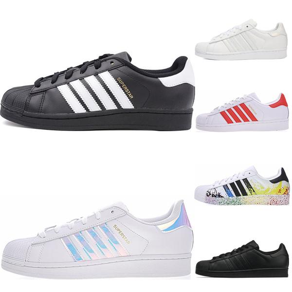 Acheter Adidas Superstar 2019 Super Star Triple Noir Blanc Superstars Fierté Chaussures De Sport Pour Hommes Chaussures De Sport Hommes Formateurs De