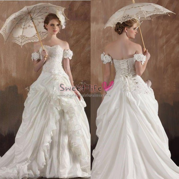 Discount Long Vintage White 2019 Garden Party A Line Wedding Dresses Organza Backless Ruffles Lace Up Appliqued Off Shoulder Beaded Bridal Ball Gown