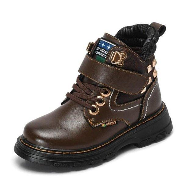 Otoño Invierno Niños Botas Cuero genuino para niños Zapatos Moda Botas de nieve a media pantorrilla Felpa Cálido Impermeable Niños Martin