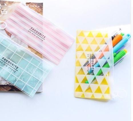 Kawaii Cartoon Transparent PVC Pencil Case School Supplies Kids Stationery Gift School Cute Box Pencilcase Pencil Bag