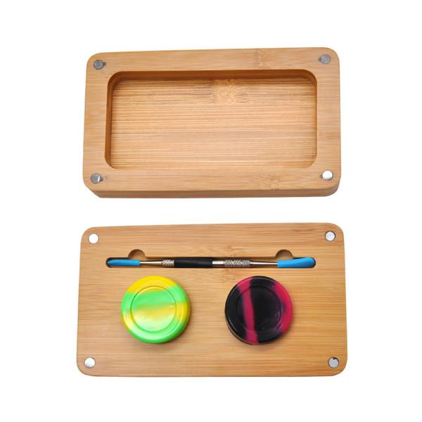 Bambus Kolophonium Aufbewahrungsset -2 Dab Rig Jar +1 Edelstahl Dab Tool +1 Bambus Magnet Roll Tablett Rauchglas Wasser Bongs Zubehör