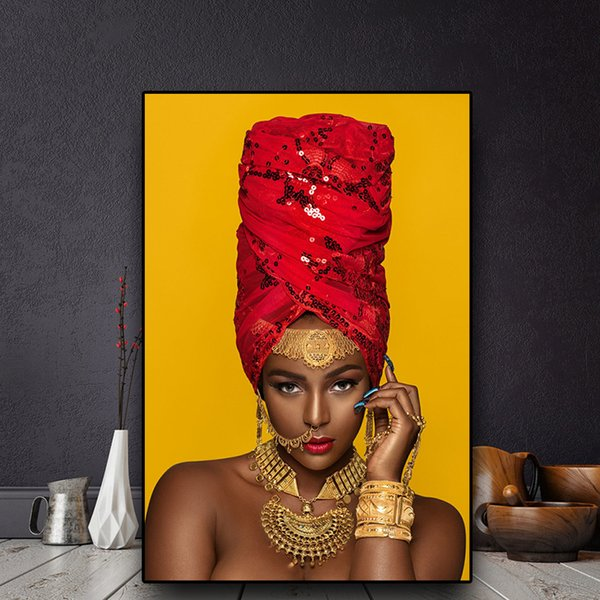 Noir et or Sexy Lips Nue Art Africain Femme Peinture à l'huile sur toile Cuadros Affiches et posters Mur Photo Non Encadrée