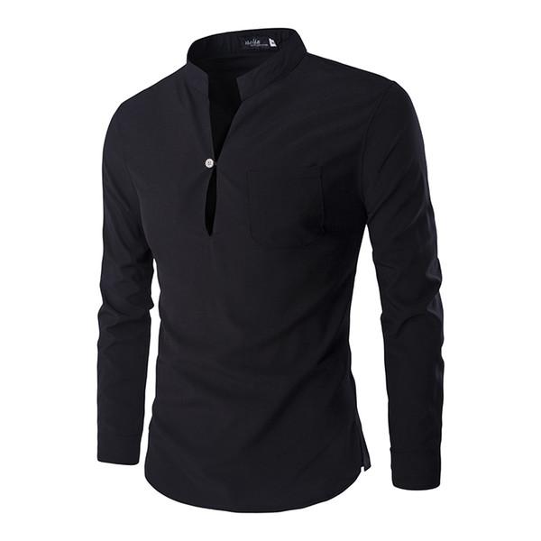 New Black Men Homme 2016 Autumn Fashion Slim Fit Long Sleeve Henley Shirt Casual Brand Mens Polo Shirts C19041501