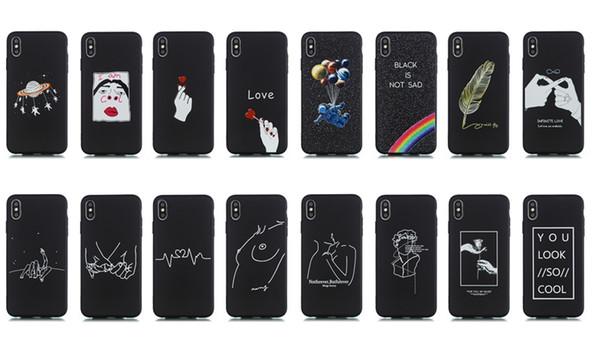 Moda Yumuşak TPU Kılıf Iphone XR XS MAX X 8 7 6 Artı 5 5 S SE Gül Aşk Kalp Çiçek Silikon Sevimli Güzel Güzel Lüks Siyah Telefon Cilt Kapak