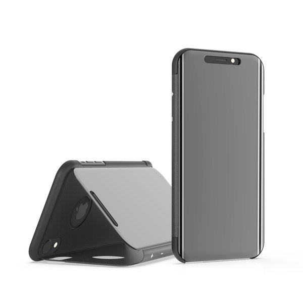 Luxury Mirror Clear View Case for iPhone 5 6 6S 7 8 plus X Xs Max Xr Phone Cover Plating Base Vertical Stand