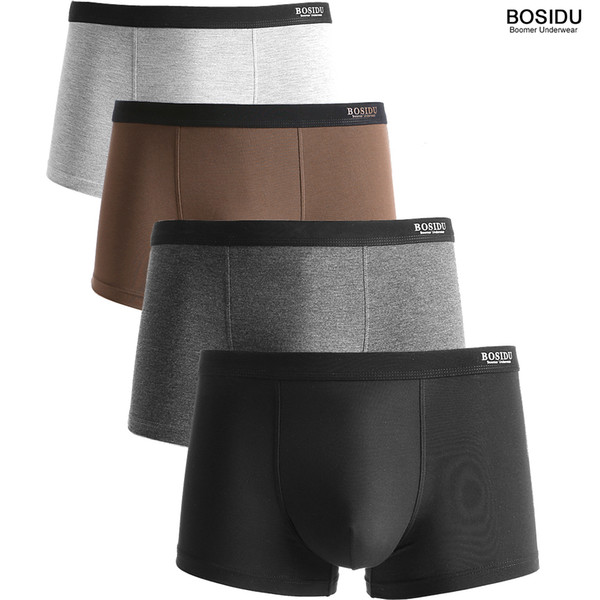 Bosidu Men Modal Spandex Boxers 4pcs/lot Solid Multi-color Shorts Underwear Breathable Comfortable Anti-bacterial 5 Sizes Q190517
