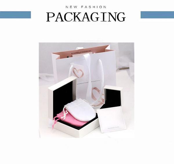 Super Qualidade Amante Corações Caixas de Jóias de Moda conjunto de Embalagem Para Pandora Encantos Pulseira Anéis de Prata conjunto de caixa Original sacos de Presente Das Mulheres
