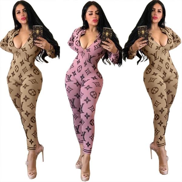 tuta da donna designer tuta manica lunga tuta scollo a V pagliaccetto sexy elegante moda aderente tuta pullover cerniera confortevole clubwear 2200
