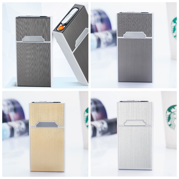 New Mini Colorful USB Lighter Cigarette Cases Shell Casing Storage Box Aluminum Plastic Exclusive Design Portable Magnet Switch Hot Cake