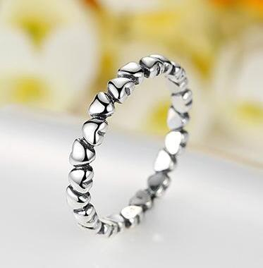 925 sterling silver hearts ring #02