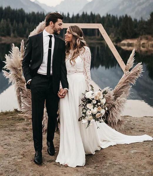 2019 Nuovi abiti da sposa Boho a due pezzi Maniche lunghe Una linea Abiti da sposa in pizzo bianco in chiffon principessa Abiti su misura Abiti da sposa