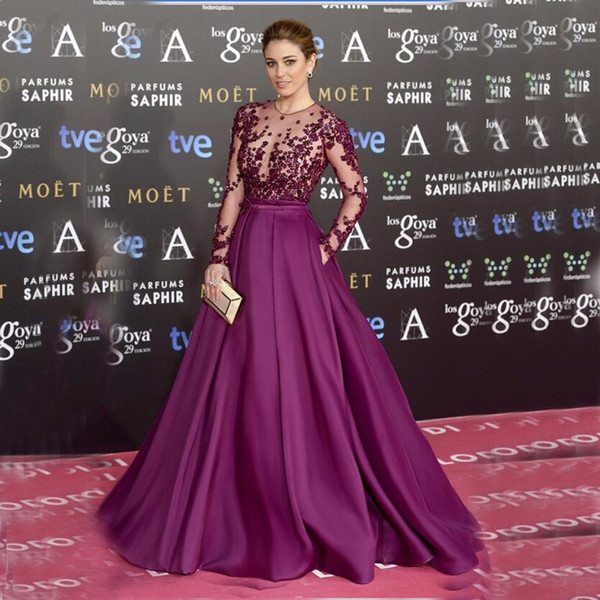 Women Purple Elegant Long Sleeve Evening Dresses Pearls Lace Satin A Line Celebrity Dresses 2019 Long Prom Gowns for Special Occasion