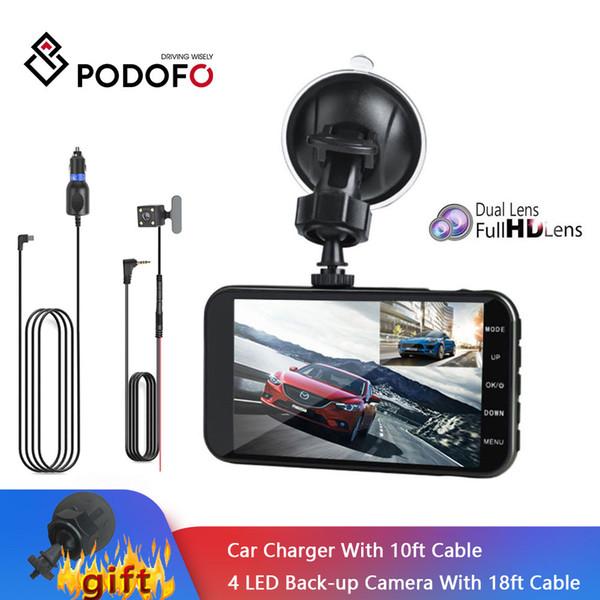 Podofo 4'' Dashcam Dual Lens Car DVR Camera FHD 1080P IPS Screen Night Vision Video Recorder DVRs Camcorder With Rearview Camera