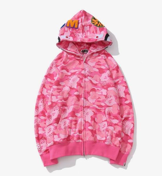 Nuevo patrón para hombre con capucha de diseño Suelta Rosa Azul estampado de camuflaje chaqueta de punto patchwork Full Zip Hoodie APE blanco clásico impresión de logotipo