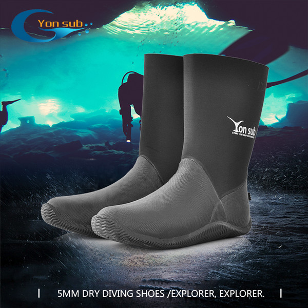 5MM Dry Vulcanized Rubber Diving Boots High Waterproof Shoes Wear-resistant Diving Shoes Used For Car Wash Diving