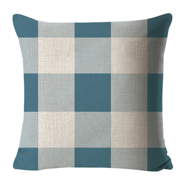 Fall Halloween Check Plaids Throw Pillow Case Cushion Cover Cotton Canvas for Sofa Orange and Black, 18 x 18 Inches