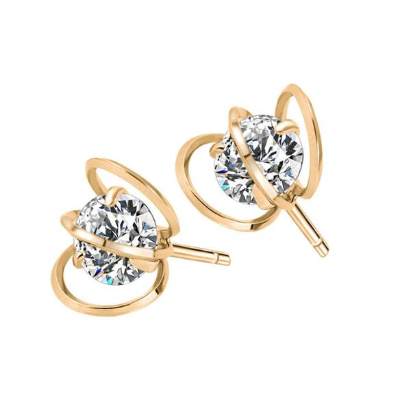Orecchini Orecchini geometrici in cristallo incavato placcato oro 18 carati Orecchini geometrici in zircone di lusso coreano di lusso