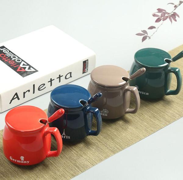 tasse de thé 1pc Lumière tasse de petit déjeuner chinois avec couvercle et cuillère tasse de café tasse de lait en céramique