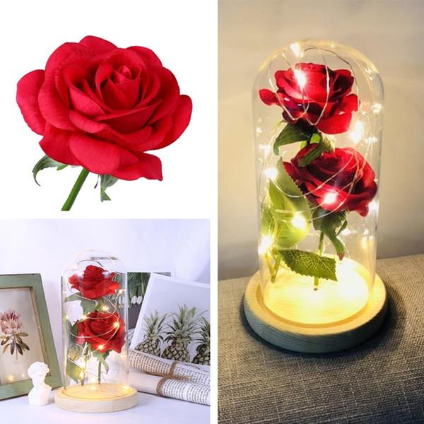 Led Rose Flower Simulation Feel Wishing Bottle Valentine S Day Gift
