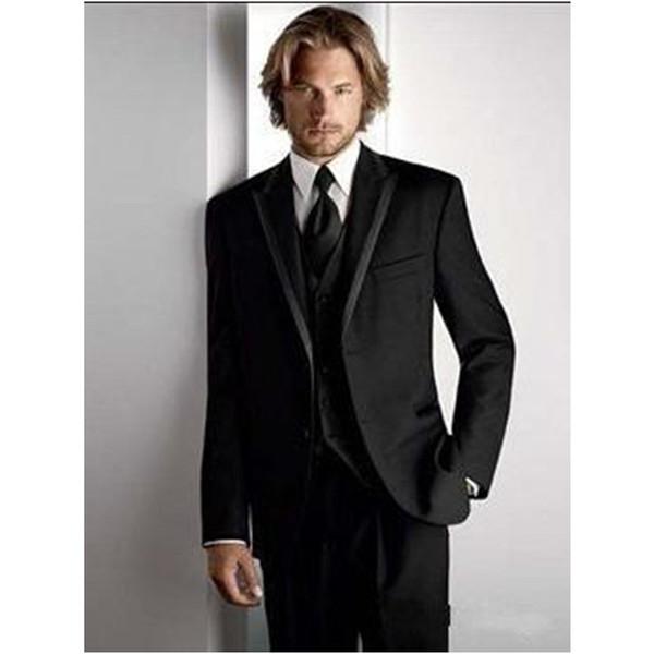 New Style Black Slim Fit Men Wedding/Prom Clothing Groom Tuxedos Peak Lapel Wear Bridegroom Suit (Jacket+Pants+Tie+Vest) C798QQ