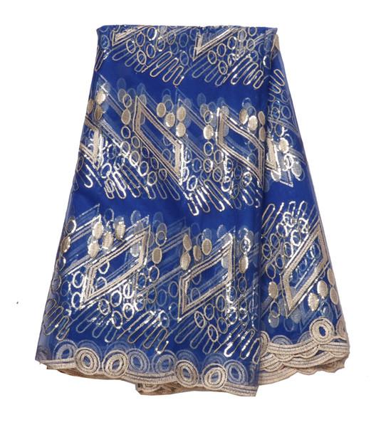 Le paillettes solubili in acqua blu reale del nuovo Africano francese vestono il tessuto per il vestito da partito da sera di promenade Trasporto libero 5 Yards / Lot