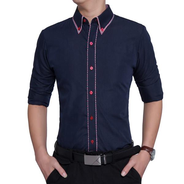 Marke 2019 Mode Männliches Hemd Langarm Tops Soild Farbe Hit Farbe Seite Britischen Business Mens Dress Shirts Schlanke Männer Hemd 3xl