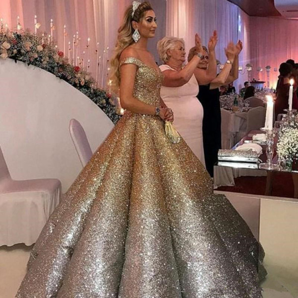 Shiny Golden Silver Evening Formal Dresses 2020 Off Shoulder Puffy Skirt Arabic Kaftan Ball Gown Occasion Prom Gowns Wear Dress