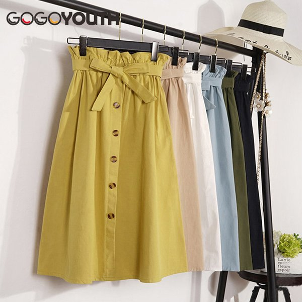 Gogoyouth Spring Summer Skirts Womens 2019 Midi Knee Length Korean Elegant Button High Waist Skirt Female Pleated School Skirt Q190426