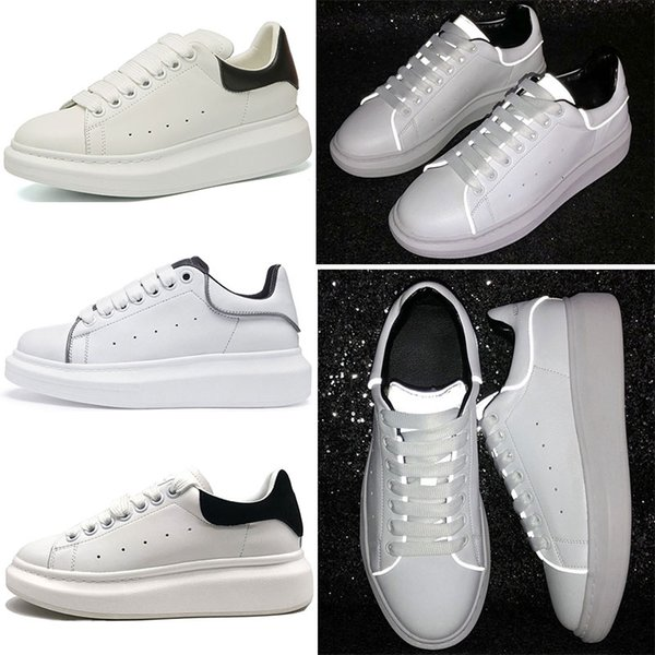 Designer Luxury Brand 3M Reflective white leather casual shoes girl women men black gold red fashion comfortable flat sneakers size 35-44