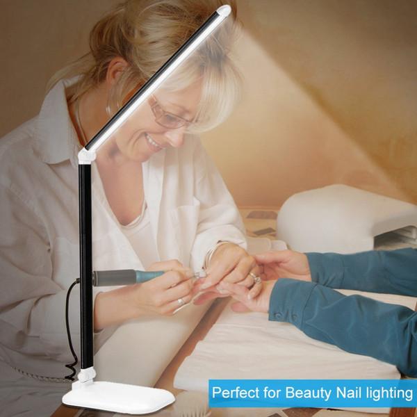 Manicure LED Table Lamp Secadores de 3 níveis Dimmer Eye-Caring Touch Control Desk Lâmpadas Secador de unhas Dobrável com 30pcs contas de LED