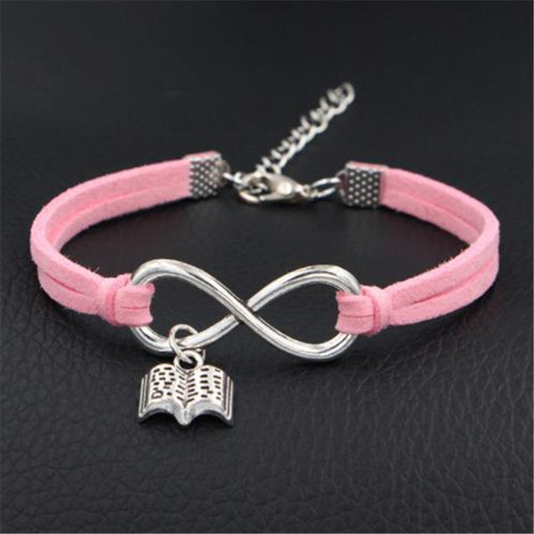 New Arrival Vintage Weave Infinity Open Book Shape Charm Pink Leather Suede Bracelets Bangles Femme Homme Women Men Male Jewelry Accessories