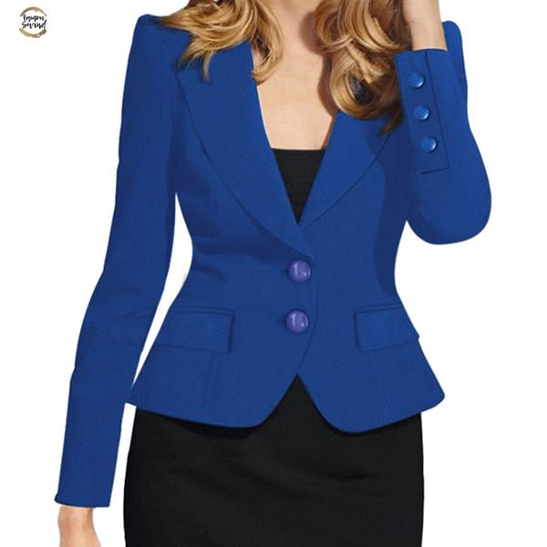 Femmes formelles Costumes Bureau Workwear Ladies Solid Slim Fit à manches longues boutonnage simple Petit Costume Femme Blazers Feminino / pt