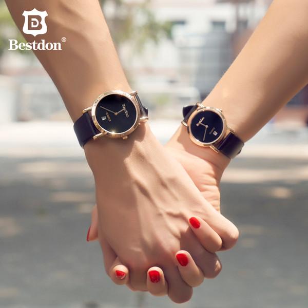 Оптовая Сапфир Кварцевые Часы Женщины Минималистский Водонепроницаемый Пара Часы Натуральный Кожаный Ремешок Дамы мужские Наручные Часы Лучший Бренд