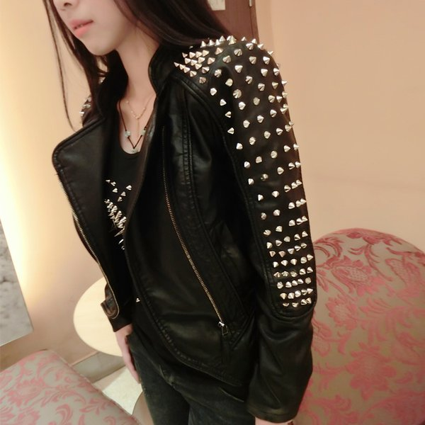 Women Metal Rivets Stand Collar Pu Leather Jacket Slim Spiked Studded Motorcycle Faux Leather Coats Winter Fleece Lining B473
