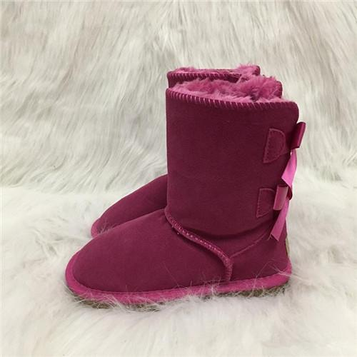 Vente chaude designer chaussures Enfants Enfants Bottes De Neige Australie Style 2-Bow Retour Décoration Slip-on Hiver Vache En Cuir Filles Bottes Marque 3A