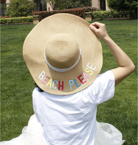 Chapéus de mamãe de verão palha moda chapéu de aba larga mulheres meninas chapéus de sol 11 cores Lettes bordado UV adulto praia Headwear Top Quality Cap