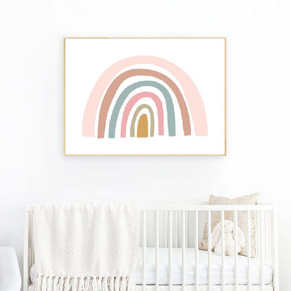 2019 Rainbow Print Girls Bedroom Decor Pink And Yellow Nordic Poster Wall  Art Canvas Painting Wall Picture Baby Nursery Decoration From Windomfac, ...