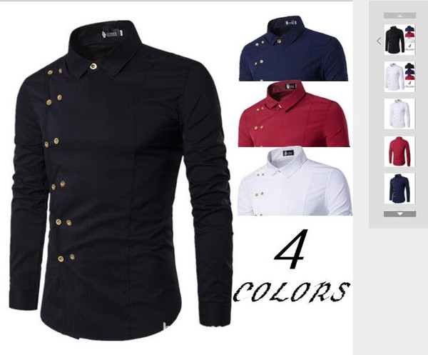 Spring and Autumn Foreign Trade New Men's Wear Tuhao Gold Double-breasted Fashion Metal Decoration Sleeve Shirt