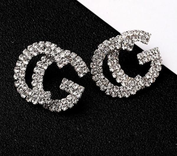 Mode Nouveau G Lettre De Luxe Designer Boucles D'oreilles S925 Argent Aiguille G Boucle D'oreille Bijoux avec Perle Cristal Cadeau