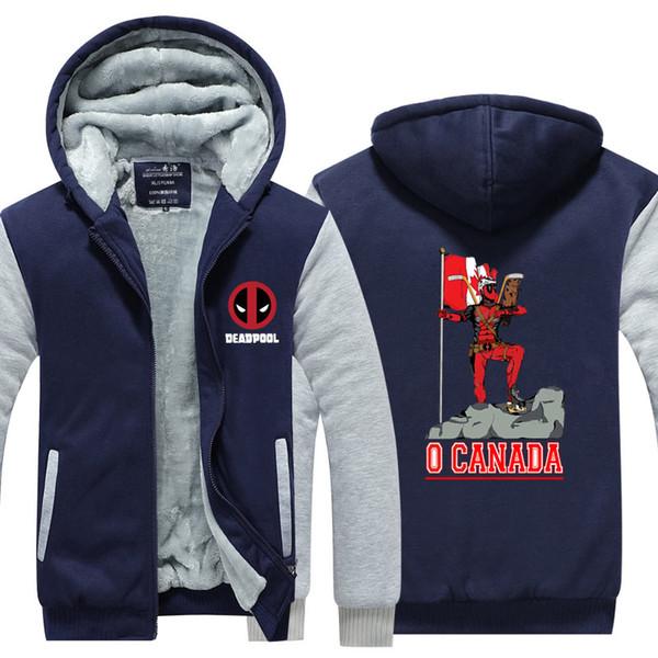 Manteau Deadpool O Canada en cachemire à capuche en coton manteau d'hiver polaire Sweat à capuche Épaissir Zipper Cardigan manteau sport Veste Taille US UE